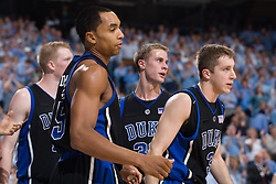 06 February 2008: Duke Blue Devils guard Greg Paulus (3), guard Gerald Henderson (15) and guard Jon Scheyer (30) during a 89-78 win over the North Carolina Tar Heels at the Dean Smith Center in Chapel Hill, NC.