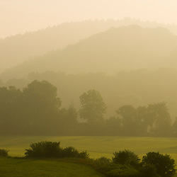 Early morning on a farm near the Connecticut River in Windsor, Vermont.