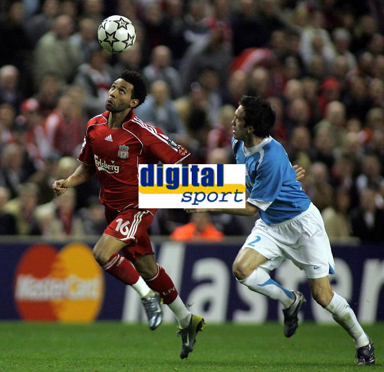Photo: Paul Thomas.<br /> Liverpool v PSV Eindhoven. UEFA Champions League. Quarter Final, 2nd Leg. 11/04/2007.<br /> <br /> Jermaine Pennant (L) of Liverpool battles Csaba Feher