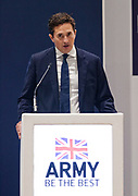 London, United Kingdom - 12 September 2019<br /> Johnny Mercer MP, Parliamentary Under-Secretary of State for Defence People and Veterans for the UK Government gives a keynote address speech and answers questions from the audience at DSEI 2019 security, defence and arms fair at ExCeL London exhibition centre.<br /> (photo by: EQUINOXFEATURES.COM)<br /> Picture Data:<br /> Photographer: Equinox Features<br /> Copyright: ©2019 Equinox Licensing Ltd. +443700 780000<br /> Contact: Equinox Features<br /> Date Taken: 20190912<br /> Time Taken: 10123101<br /> www.newspics.com