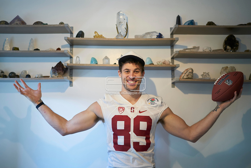 March 23, 2019. Hollywood, California. Former Stanford and Cleveland American Football player, Devon Cajuste who has turned to spiritual healing with crystals.<br /> Photo copyright John Chapple / www.JohnChapple.com