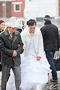 Newly wed couple in Red Square Moscow, Russia