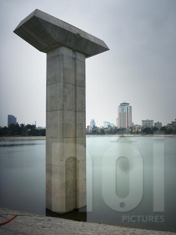 building a new bridge on Dong Da lake, Dong Da district, Hanoi, Vietnam