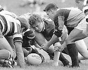 Bath, West Somerset. Great Britain.  <br /> Harlequins Flanker, Micky SKINNER, packing down, during the Bath Rugby vs Harlequins, The Recreation Ground [Rec]. 10.09.1988.<br /> <br /> [Mandatory Credit, Peter Spurrier/ Intersport Images].