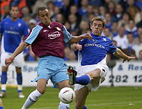 Fotball<br /> England 2004/2005<br /> Foto: SBI/Digitalsport<br /> NORWAY ONLY<br /> <br /> Ipswich Town v West Ham United<br /> The Coca Cola Championship. Play Off Semi Final Second Leg.<br /> 18/05/2005<br /> <br /> Ipswich's Richard Naylor and West Ham's Bobby Zamora battle for the ball.