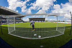 Falkirk FC keeper Michael McGovern at the goals during the warm-up. The Falkirk Stadium, with the new pitch work for the Scottish Championship game v Morton. The woven GreenFields MX synthetic turf and the surface has been specifically designed for football with 50mm tufts compared with the longer 65mm which has been used for mixed football and rugby uses.  It is fully FFA two star compliant and conforms to rules laid out by the SPL and SFL.<br /> ©Michael Schofield.