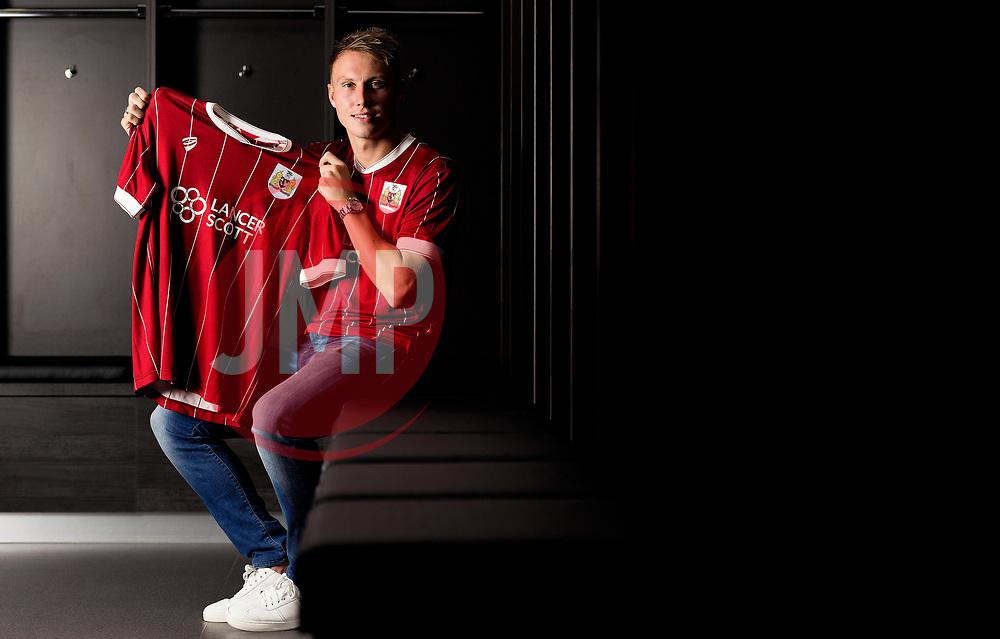 Cauley Woodrow poses at Ashton Gate Stadium after signing for Bristol City - Mandatory by-line: Joe Meredith/JMP - 17/08/2017 - FOOTBALL - Ashton Gate Stadium - Bristol, England - Bristol City New Signing