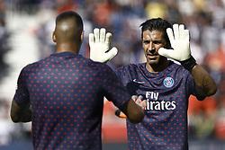 August 25, 2018 - Paris, France - Alphonse Areola, Gianluigi Buffon during the French L1 football match Paris Saint-Germain (PSG) vs Angers (SCO), on August 25, 2018 at the Parc des Princes in Paris. (Credit Image: © Mehdi Taamallah/NurPhoto via ZUMA Press)