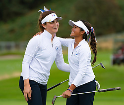 Auchterarder, Scotland, UK. 10 September 2019. Day one of the Junior Solheim Cup 2019 at the Centenary Course at Gleneagles. Tuesday Morning Foursomes. Pictured Briana Chacon (l) and Brianna Navarrosa of USA celebrate winning match by 1 hole on 18th green. Iain Masterton/Alamy Live News