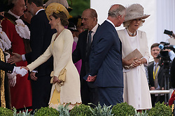 © Licensed to London News Pictures. 12/07/2017. London, UK. HER MAJESTY QUEEN LETIZIA, DUKE OF EDINBURGH, CHARLES, PRINCE OF WALES and DUCHESS OF CORNWALL attends the Ceremonial Welcome at Horse Guards Parade during a three day State visit. Photo credit: Ray Tang/LNP