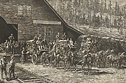 Scene at Reno station, Nevada, on the Central Pacific Railroad, c1876.  Stagecoaches and their teams  waiting for the arrival of the next train. Engraving.