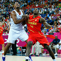 08 August 2012: USA Boris Diaw vies for the rebound with Serge Ibaka during 66-59 Team Spain victory over Team France, during the men's basketball quarter-finals, at the 02 Arena, in London, Great Britain.