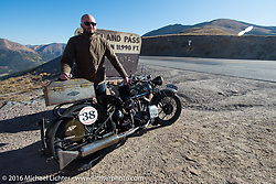 Alan Stulberg of Revival Cycles (Austin) riding Bryan Bossier's 1933 Brough Superior 11-50 at the top of Loveland Pass during Stage 10 (278 miles) of the Motorcycle Cannonball Cross-Country Endurance Run, which on this day ran from Golden to Grand Junction, CO., USA. Monday, September 15, 2014.  Photography ©2014 Michael Lichter.
