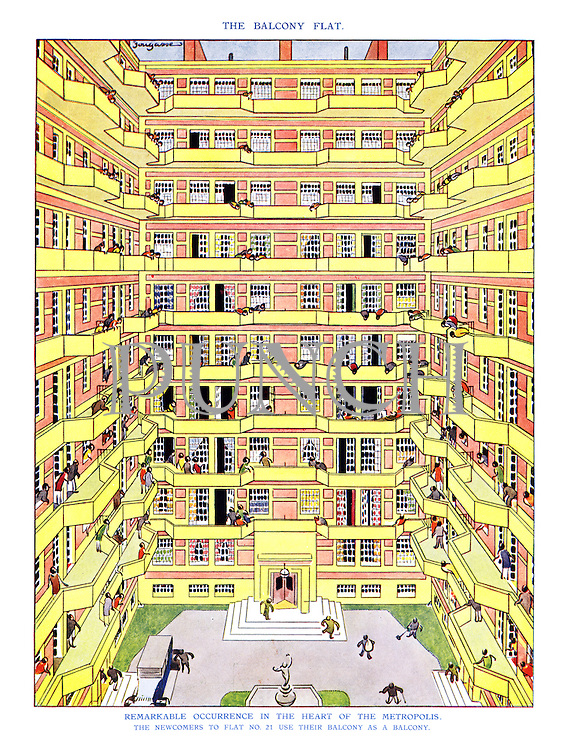 Remarkable Occurence in the Heart of the Metropolis. The newcomers to flat No. 21 use their balcony as a balcony.