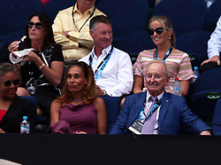 MELBOURNE, Jan. 24, 2018  Former tennis player Rod Laver of Australia (1st R, Front) watches the men's singles quarterfinal between Tennys Sandgren of the United States and Chung Hyeon of South Korea at Australian Open 2018 in Melbourne, Australia, Jan. 24, 2018. (Credit Image: © Li Peng/Xinhua via ZUMA Wire)