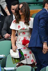 © Licensed to London News Pictures. 27/06/2016. PIPPA MIDDLETON sit in the Royal Box on the first day of the WIMBLEDON Lawn Tennis Championships in London, UK. Photo credit: Ray Tang/LNP