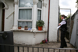 © Licensed to London News Pictures. 14/06/2020. London, UK. A police officer guards a residential property on Waldegrave Road in Haringey, north London as police launch a murder investigation following fatal stabbing. Police were called at 23.58hrs on Saturday, 13 June to Waldegrave Road, following reports of a 48-year-old man with stab injuries. Officers and London Ambulance Service attended and the man was taken to hospital. He died just before 01.00hrs on Sunday, 14 June. A 42-year-old man has been arrested on suspicion of murder. He is thought to be known to the victim. Photo credit: Dinendra Haria/LNP