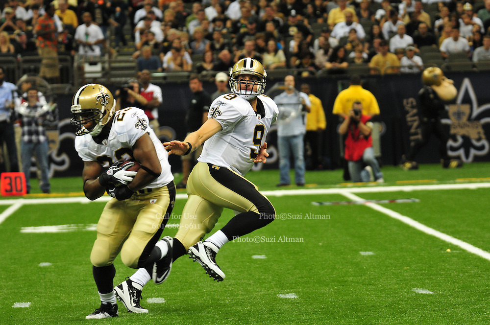 The New Orleans Saints play the San Francisco 49ers Friday August 12,2011 its the first preseason NFL game and the first NFL game since the lockout. Saints rookie and Heisman trophy winner RB Mark Ingram 28, runs for his first NFL touchdown.The Saints won 24-3. Photo© Suzi Altman.com