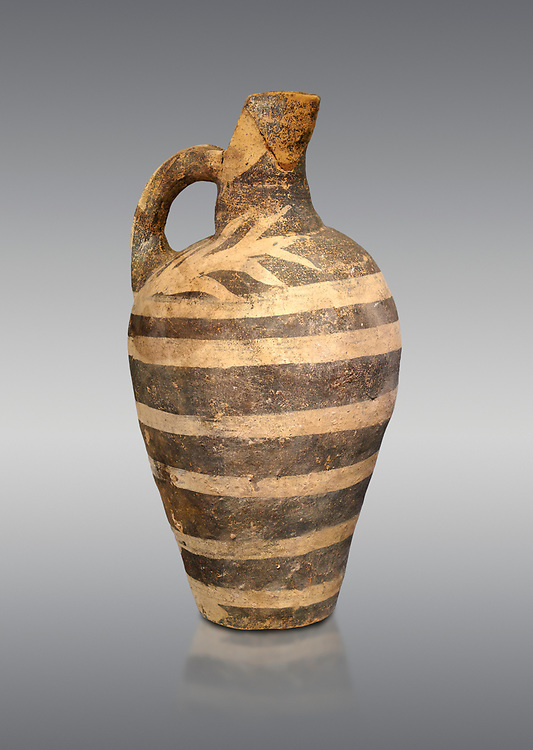 Minoan decorated Kamares  style jug with comncentric ring pattern, Poros cemetery 1800-1650 BC; Heraklion Archaeological  Museum, grey background. .<br /> <br /> If you prefer to buy from our ALAMY PHOTO LIBRARY  Collection visit : https://www.alamy.com/portfolio/paul-williams-funkystock/minoan-art-artefacts.html . Type -   Heraklion   - into the LOWER SEARCH WITHIN GALLERY box. Refine search by adding background colour, place, museum etc<br /> <br /> Visit our MINOAN ART PHOTO COLLECTIONS for more photos to download  as wall art prints https://funkystock.photoshelter.com/gallery-collection/Ancient-Minoans-Art-Artefacts-Antiquities-Historic-Places-Pictures-Images-of/C0000ricT2SU_M9w