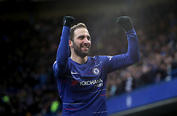 Chelsea's Gonzalo Higuain celebrates scoring his side's first goal of the game during the Premier League match at Stamford Bridge, London.