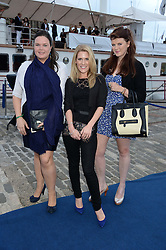 Johnnie Walker Gold Label Reserve Finale Celebration Party aboard the John Walker & Sons Voyager moored at the Prince of Wales Docks, Leith, Edinburgh, Scotland on 14th August 2013.<br /> Picture shows:-Left to right, Celia Graham, Caroline Henderson and Lucie Hardie.