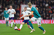 Phil Foden of England U21's passes the ball during the U21 International match between England and Germany at the Vitality Stadium, Bournemouth, England on 26 March 2019.