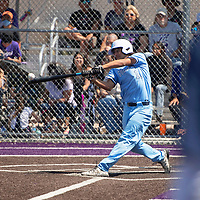 A base hit by Bryce Carrillo brings in a run for the Goddard Rockets against the Miyamura Patriots Tuesday morning in Gallup.
