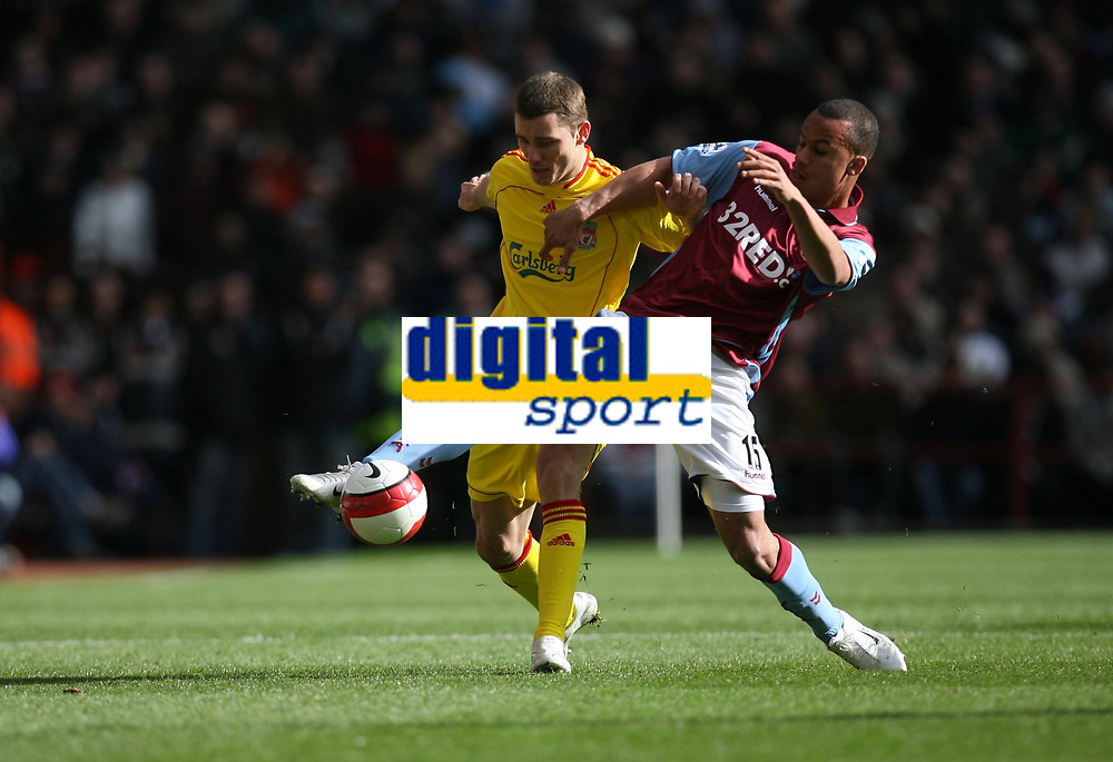 Photo: Rich Eaton.<br /> <br /> Aston Villa v Liverpool. The Barclays Premiership. 18/03/2007. Gabriel Agbonlahor, right of Villa gets to the ball ahead of Liverpools Fabio Aurelio