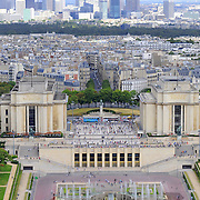 Aerial of Paris wth Defense skyline and fountains of old town