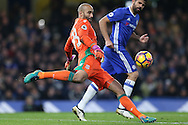 Goalkeeper Lee Grant of Stoke City in action. Premier league match, Chelsea v Stoke city at Stamford Bridge in London on Saturday 31st December 2016.<br /> pic by John Patrick Fletcher, Andrew Orchard sports photography.