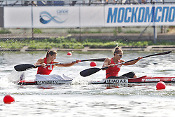08.08.2014, Moskau, RUS, ICF, Kanu WM 2014, Tag 2, im Bild Ana Roxana Lehaci - Viktoria Schwarz (AUT) im Vorlauf KII Damen 500m bei der // durin day two of 2014 ICF Canoe Sprint World Championships in Moskau, Russia on 2014/08/08. EXPA Pictures © 2014, PhotoCredit: EXPA/ Eibner-Pressefoto/ Freise<br /> <br /> *****ATTENTION - OUT of GER*****