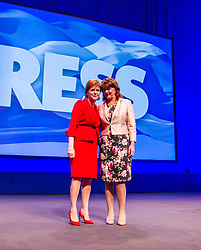 Pictured: Nicola Sturgeon and Leanne Wood<br /> The members of the SNP gathered in the Scottish Events Centre in Glasgow for their annual conference.<br /> <br /> The Ger Harley | EEm 9 October 2017