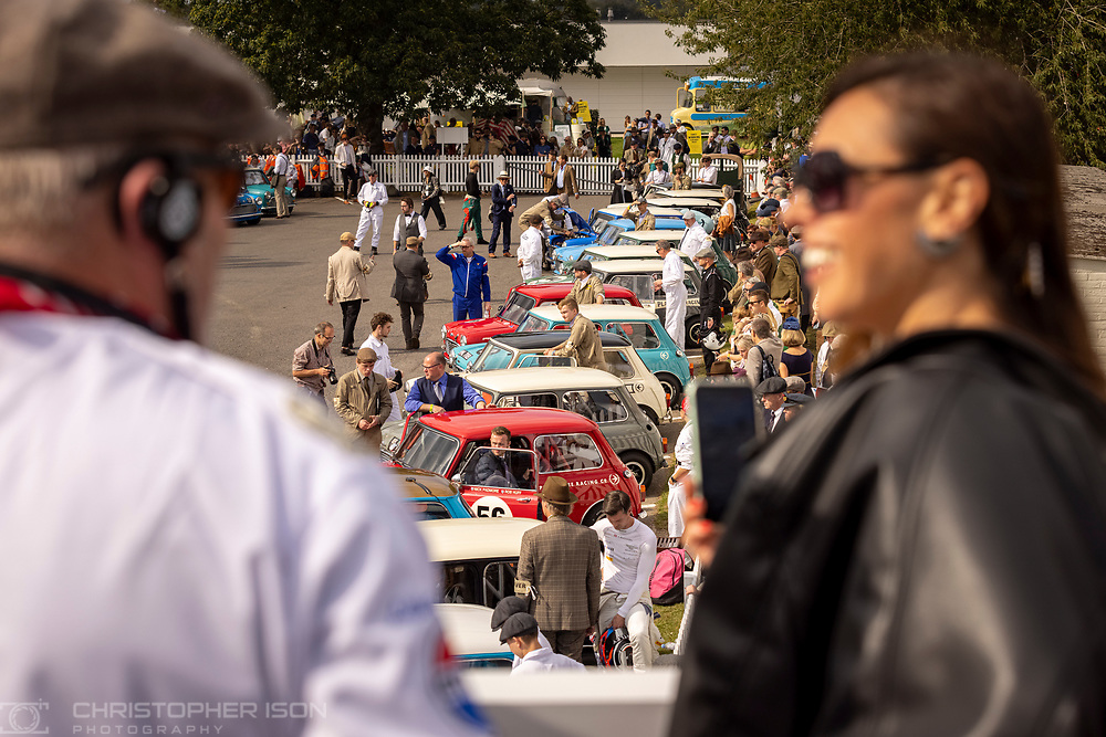 Minis wait ahead of the John Whitmore Trophy at Goodwood Revival on day two.<br /> Picture date: Saturday September 18, 2021.<br /> Photograph by Christopher Ison ©<br /> 07544044177<br /> chris@christopherison.com<br /> www.christopherison.com<br /> <br /> IMPORTANT NOTE REGARDING IMAGE LICENCING FOR THIS PHOTOGRAPH: This image is supplied to the client under the terms previously agree. No sales are permitted unless expressly agreed in writing by the photographer.