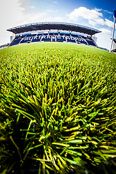 A fish-eye lens view of the new plastic pitch with the main stand in the background at The Falkirk Stadium, for the Scottish Championship game v Hamilton. The woven GreenFields MX synthetic turf and the surface has been specifically designed for football with 50mm tufts compared with the longer 65mm which has been used for mixed football and rugby uses.  It is fully FFA two star compliant and conforms to rules laid out by the SPL and SFL.<br /> ©Michael Schofield.