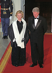United States President Bill Clinton and first lady Hillary Rodham Clinton await the arrival of Prime Minister Keizo Obuchi and his wife, Chizuko Ono, of Japan on the North Portico of the White House for an Official Dinner in their honor at the White House in Washington, D.C. on May 3, 1999. Photo by Ron Sachs/CNP/ABACAPRESS.COM