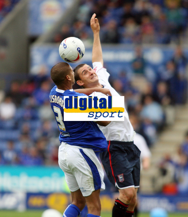 Photo: Chris Ratcliffe.<br />Leicester City v Ipswich Town. Coca Cola Championship. 12/08/2006.<br />Nick Forster (R) of Ipswich clashes with Patrick Kisnorbo of Leicester.