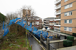 ©Licensed to London News Pictures 15/01/2020<br /> Orpington, UK. A ten storey scaffolding tower fell from a block of flats in Orpington, Kent last night as Storm Brendan hit the UK. Photo credit: Grant Falvey/LNP