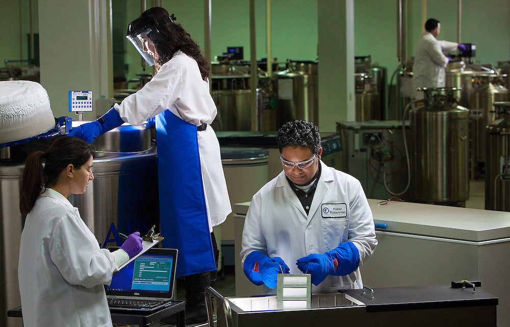 cryogenic biobank at Fisher BioServices inRockville Maryland