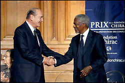 September 21, 2016 - Paris, France - Former President Jacques Chirac and Kofi Annan..Award ceremony of the Fondation Chirac Conflit Prevention Prize at La Sorbonne in Paris. (Credit Image: © Visual via ZUMA Press)