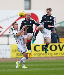 Ross County's Tim Chow and Dundee's Mark O'Hara and Dundee's Kevin Holt. Dundee 1 v 1 Ross County, SPFL Ladbrokes Premiership played 13/5/2017 at Dens Park.