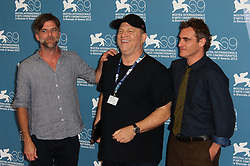 """Director Paul Thomas Anderson, producer Harvey Weinstein and Joaquin Phoenix attending """"The Master"""" Photocall during the 69th Venice Film Festival held at the Palazzo del Casino in Venice, Italy, on September 1, 2012. Photo by Nicolas Genin/ABACAPRESS.COM    404104_012 Venise Venice Italie Italy"""