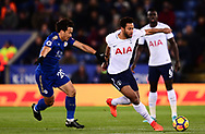 Mousa Dembele of Tottenham Hotspur battles with Shinji Okazaki of Leicester city (l) .Premier league match, Leicester City v Tottenham Hotspur at the King Power Stadium in Leicester, Leicestershire on Tuesday 28th November 2017.<br /> pic by Bradley Collyer, Andrew Orchard sports photography.