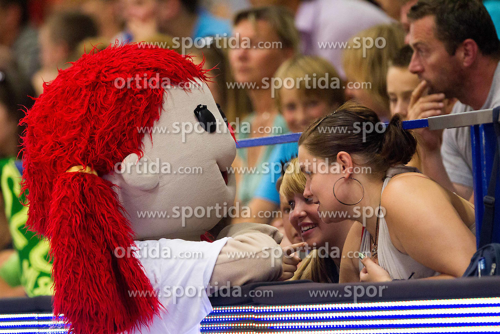 Mascot with fans during basketball match between National teams of Slovenia and Spain in Qualifying Round of U20 Men European Championship Slovenia 2012, on July 18, 2012 in Domzale, Slovenia. Slovenia defeated Spain 70-63. (Photo by Vid Ponikvar / Sportida.com)