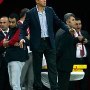 Akhisar Belediyespor's Coach Hamza Hamzaoglu during their Turkish Super League soccer match Galatasaray between Akhisar Belediyespor at the TT Arena at Seyrantepe in Istanbul Turkey on Sunday 23 September 2012. Photo by TURKPIX