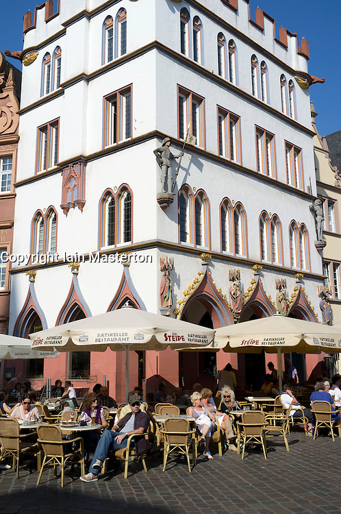 Cafe on main square in Trier Rhineland-Palatinate Germany