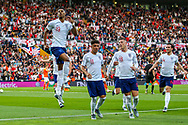 Goal England forward Marcus Rashford (Manchester United) scores a goal from the penalty spot and celebrates 0-1during the UEFA Nations League semi-final match between Netherlands and England at Estadio D. Afonso Henriques, Guimaraes, Portugal on 6 June 2019.