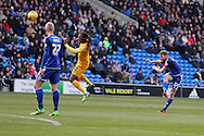 Aron Gunnarsson of Cardiff city ® hits a shot at goal from range but sees it over the crossbar. Skybet football league championship match, Cardiff city v Preston NE at the Cardiff city stadium in Cardiff, South Wales on Saturday 27th Feb 2016.<br /> pic by  Andrew Orchard, Andrew Orchard sports photography.