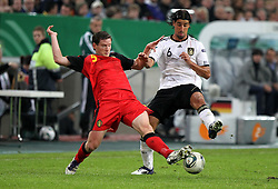 11.10.2011, Esprit Arena, Duesseldorf, GER, UEFA EURO 2012 Qualifikation, Deutschland (GER) vs Belgien (BEL), im Bild..Sami Khedira (GER) gegen Jan Vertonghen (Belgien) ..// during the UEFA Euro 2012 qualifying round Germany vs Belgium  at Esprit Arena, Duesseldorf 2011-10-11 EXPA Pictures © 2011, PhotoCredit: EXPA/ nph/  Hessland       ****** out of GER / CRO  / BEL ******