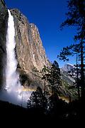 Upper Yosemite Falls and Half Dome, Yosemite Valley, Yosemite National Park, California USA