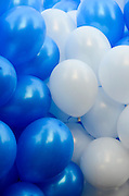 Blue and white Helium Filled balloons